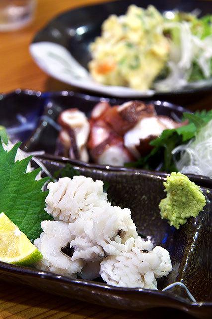 串揚げと手作り料理 林太郎-鱧湯引き&たこぶつ&ポテトサラダ.jpg